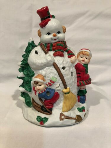 Christmas Holiday Winter Snowman Children Candle Holder Figurine