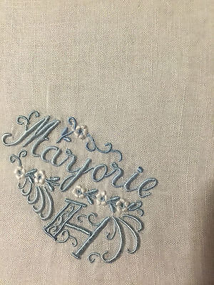 VINTAGE LINEN HANDKERCHIEF BRIDAL WEDDING White  with BLUE  MARJORIE H MONOGRAM