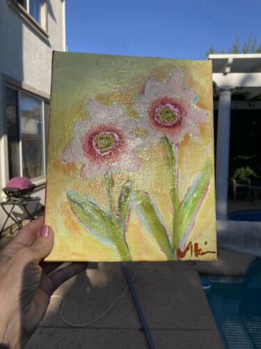 Pink Flowers an Acrylic Original Painting 9 x10  - $58.00