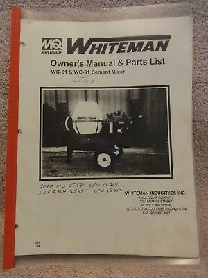 Whiteman Cement Mixer Wc-61 Wc-91 Owners And Parts List Manual