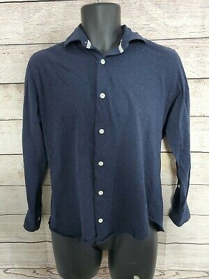 ELEVENTY Cotton Long Sleeve Button Polo Shirt Blue - Men's Size M (A5)