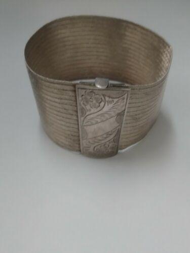 Vintage 900 Silver Hand Woven Mesh Cuff Bracelet