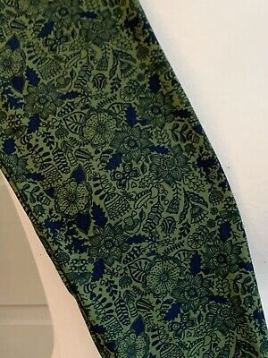 Lularoe Leggings OS Lime Green Navy and Blue Floral Leaves Feathers VINTAGE