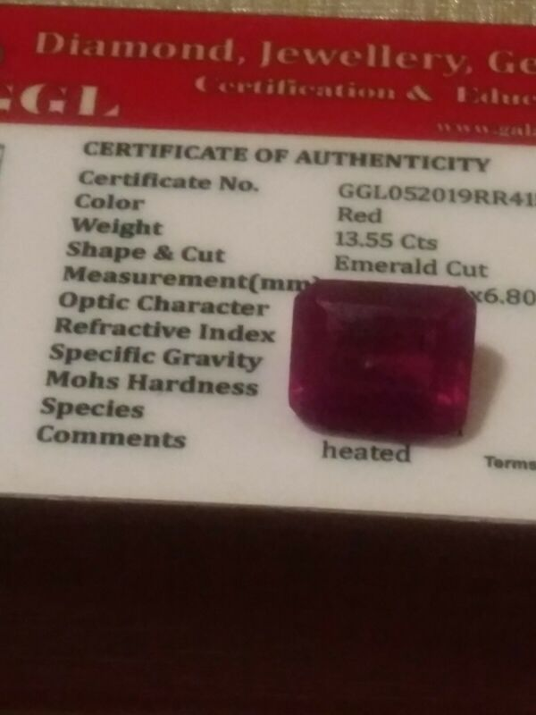 NATURAL CERTIFIED GEM TESTED RED RUBY 13.55 CARATS