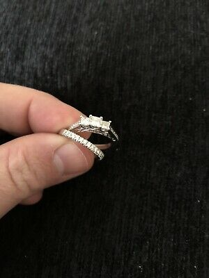 Princess Cut Diamond Engagement Ring And Wedding Band Set 14kt White Gold Size