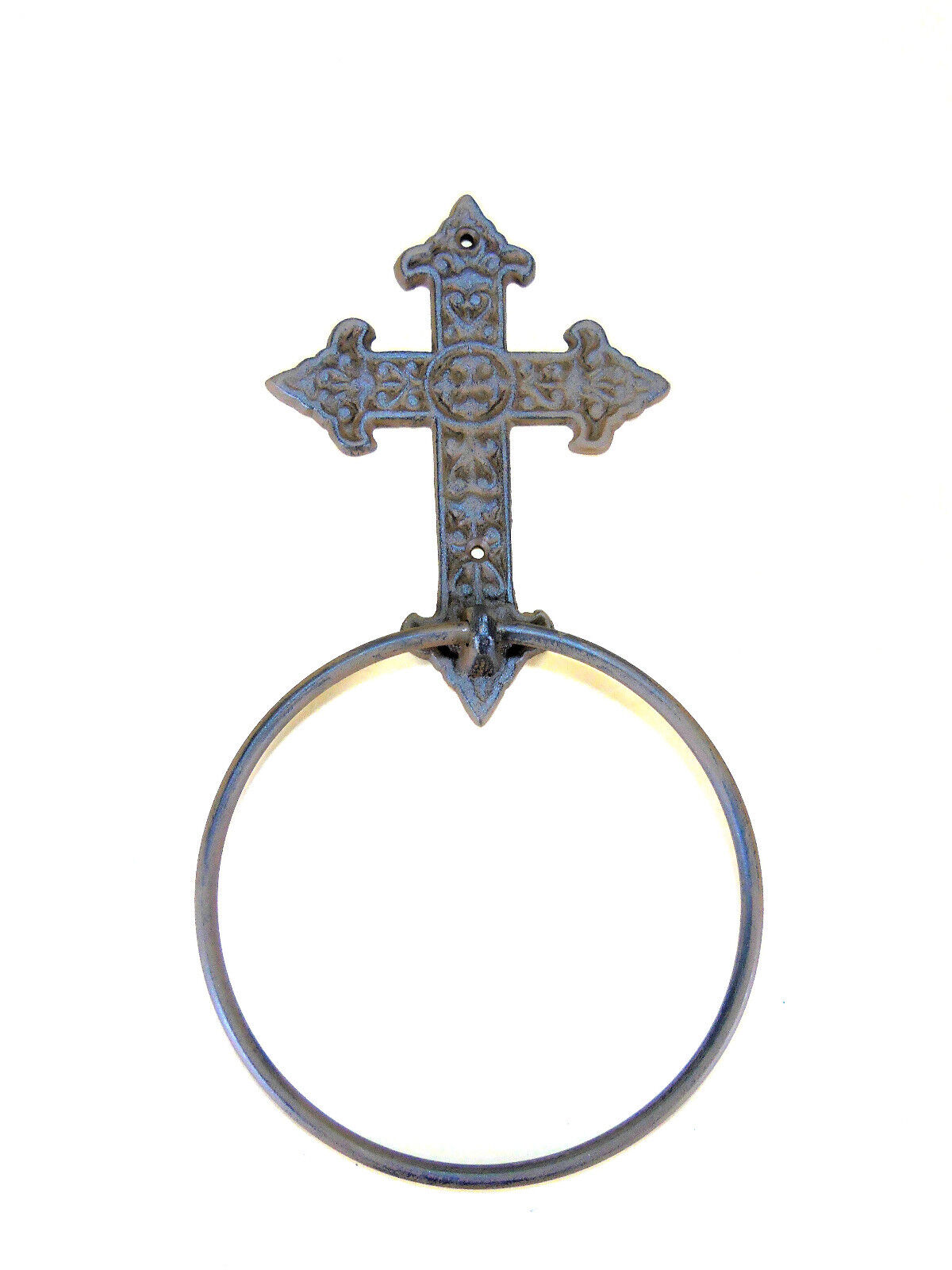 "Cast Iron Cross Towel Ring 6"" Bath Kitchen Wall Rustic Gothi"