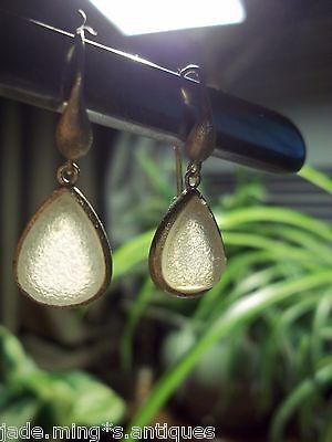 SNOWY rock crystal HEALING QUARTZ STONE drop gold sterling earrings pierced VTG