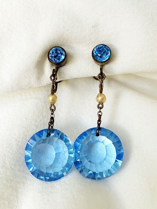 Vintage Antique Art Deco Czech Sky Blue Crystal Paste Glass Pearl Drop Earrings