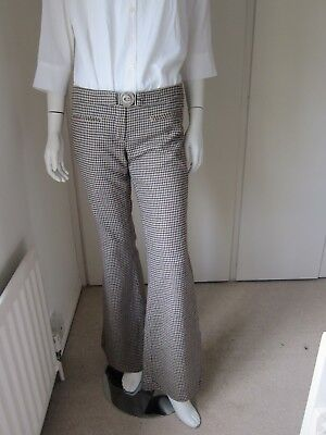 Chipie flared houndstooth women's trousers beige size 38 UK Size 10 RRP £50