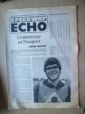 SPEEDWAY ECHO Newspaper 22 August 1968-Controversy at Newport,Classified Results
