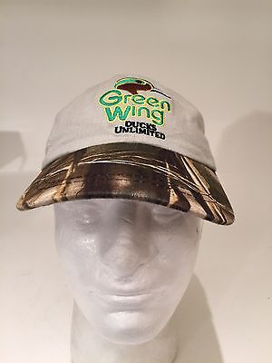 Ducks Unlimited Camouflage Camo Adjustable Hunting Cap Hat Green wing Youth