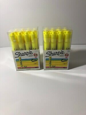 24 Count Sharpie Highlighters Fluorescent Yellow Nib Chisel Point Free Shipping