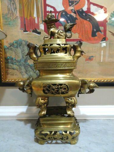 "Antique Solid Brass Asian Temple Incense Burner Foo Doo Korean Vietnam 24"" Tall"