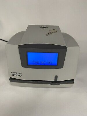 Pyramid 3500 Electronic Time Clock And Document Stamp With Key Power Tested