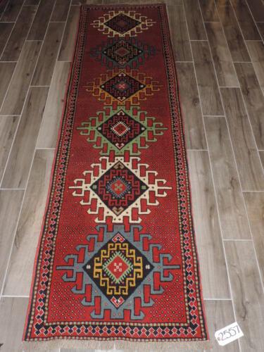 3x10ft. Handknotted Semi Antique Kurdish Kazak Wool Runner