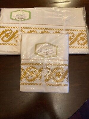 Vintage NOS  Wamsutta Supercale Gold  Embroidered King Flat Sheet & Pillowcases  King Embroidered Flat Sheet
