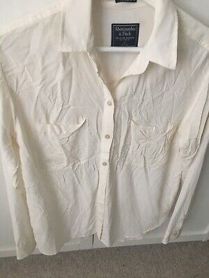 Abercrombie And Fitch White Ivory Silk Shirt Size Small 8-10