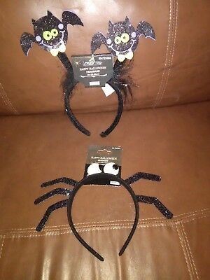 Black Bats and Spider Halloween Headbands Set of - Bat Headband