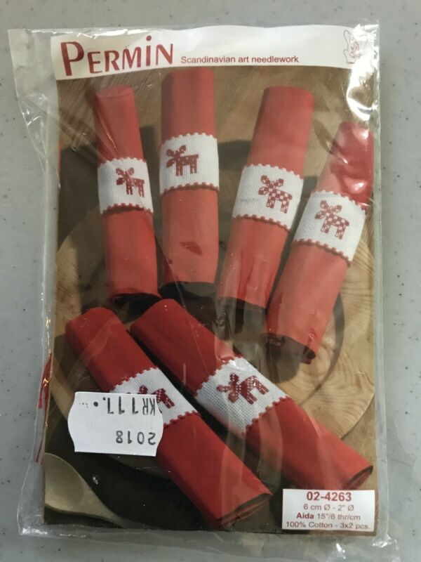 Permin Scandinavian Art Needlework Kit Napkin Rings Reindeer Red/White 024263