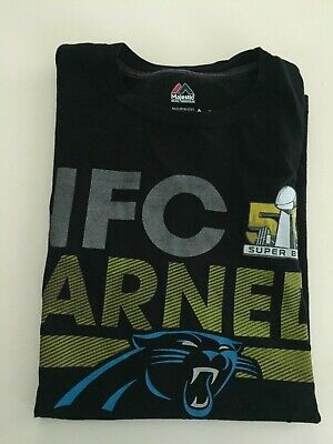Carolina Panthers Short Sleeve T Shirt Black Medium M NFC Earned Super Bowl 50