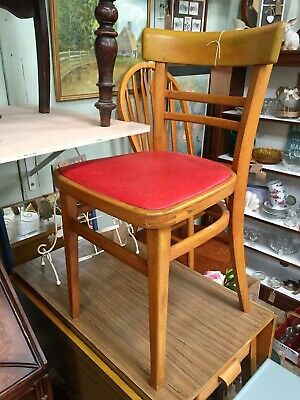 Vintage Mid Century Wooden Chair Red Vinyl Retro