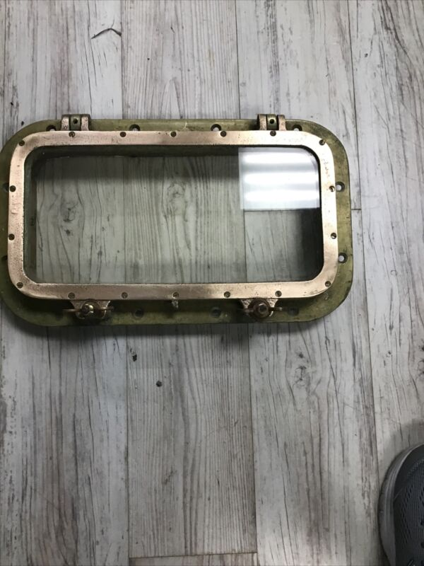 """Antique Porthole Bronze Brass 17"""" Rectangular Porthole Window 18 1/2 Pounds"""