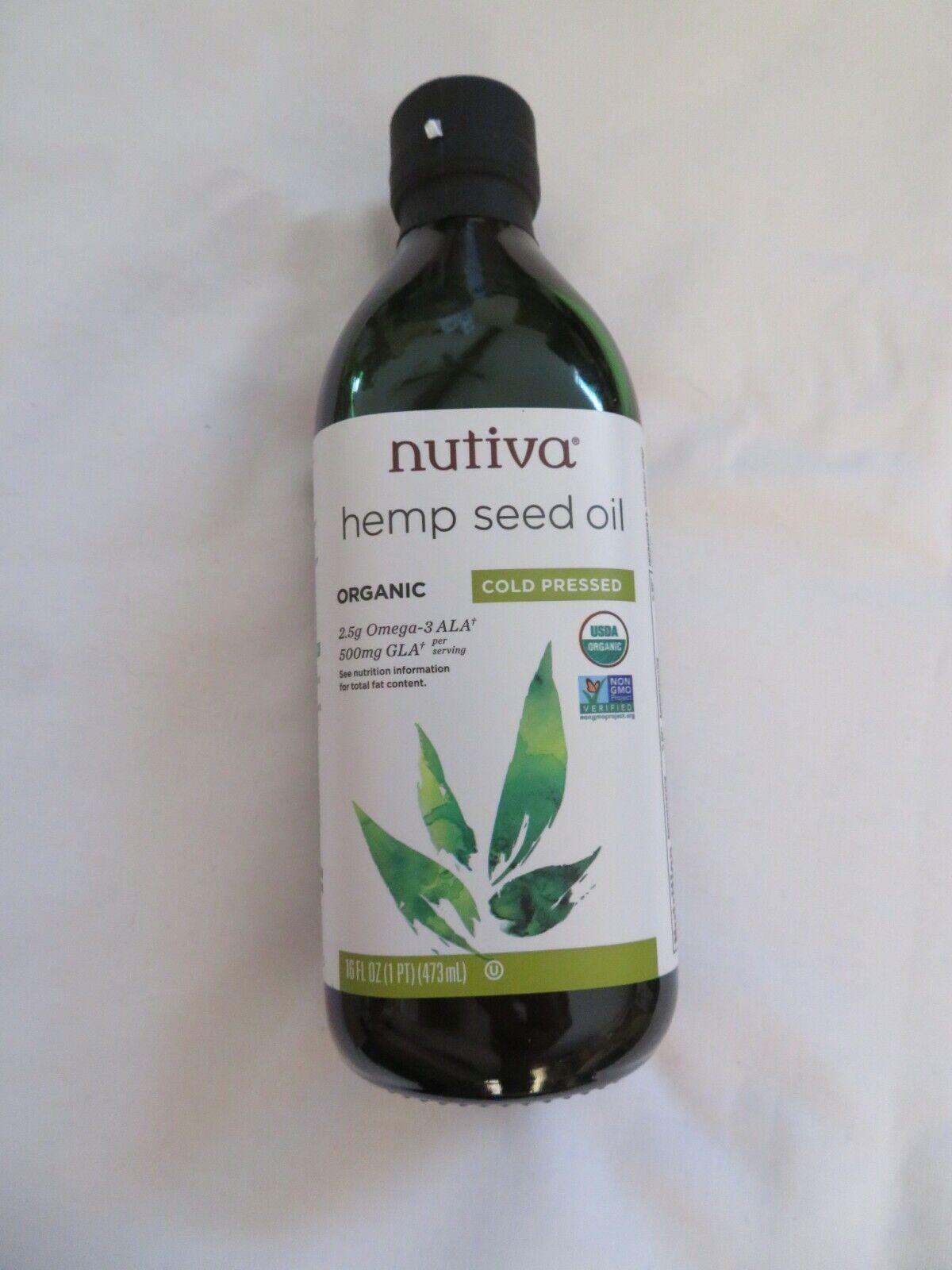 Nutiva Hemp Seed Oil Organic Cold Pressed 16 Oz 32 Servings