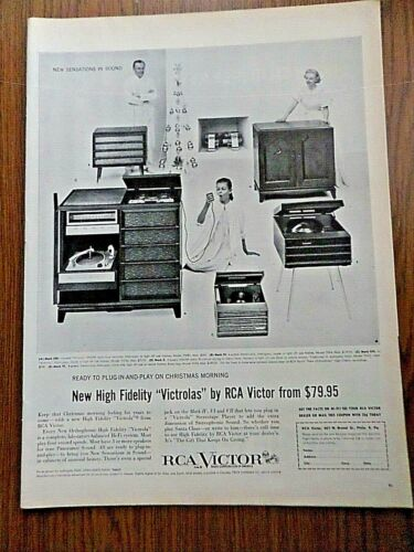 1956 RCA Victor High Fidelity Victrolas Phonographs Ad