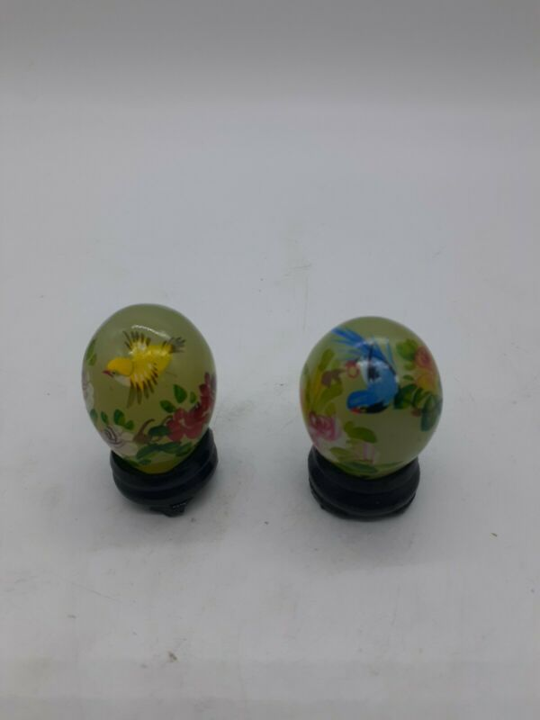 Vintage Green Jade Stone Hand Painted Eggs - Lot of 2 - Yellow Bird & Blue Bird