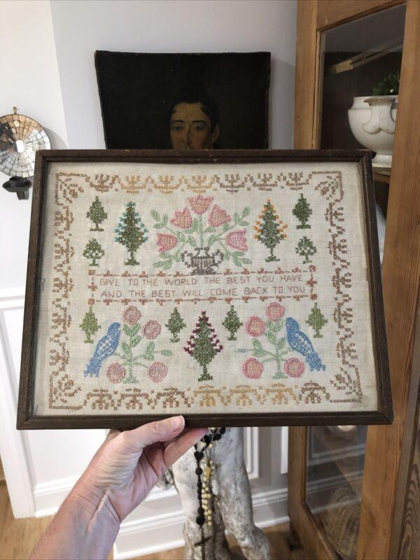 Vintage Cross Stitch Sampler Complete Framed Tulips Birds Trees & More Fabulous