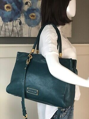 MARC BY MARC JACOBS Too Hot to Handle TEAL Leather Tote Shoulder Handbag 2 (Marc Jacobs Too Hot To Handle Handbag)