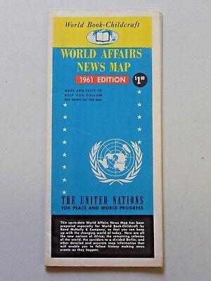 Vintage WORLD AFFAIRS NEWS MAP 1961 Edition World Book - Childcraft Folded
