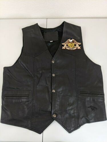 HARLEY DAVIDSON Leather Vest Motorcycle Branded Garments Size Large Camel Black
