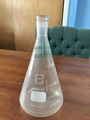 Chemglass 1000 Ml Erlenmeyer Flask With 2440 Clear Glass Neck Plastic Coated