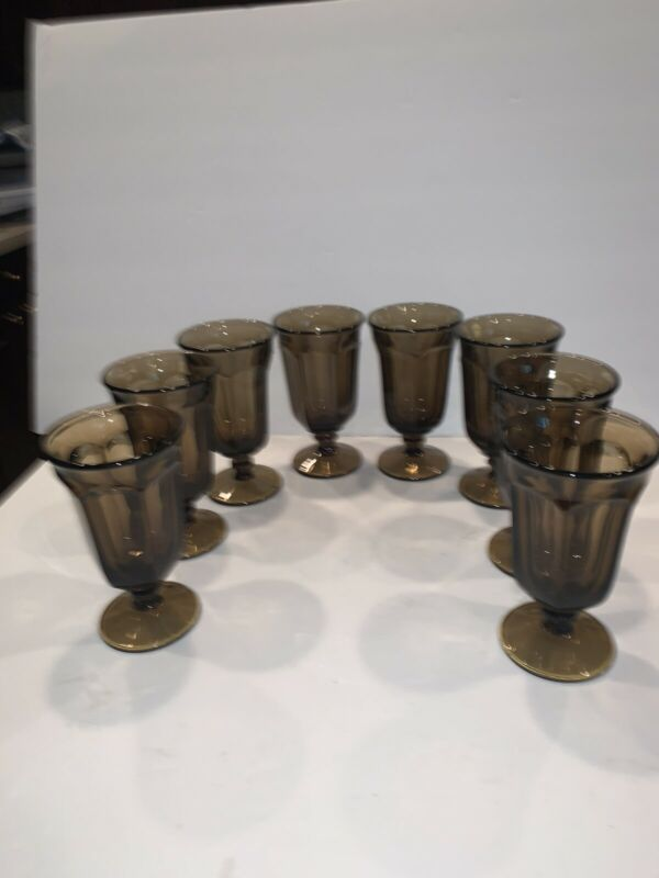 8 Vintage Imperial Glass Old Williamsburg Brown / Smoke Iced Tea Goblets 6 5/8""