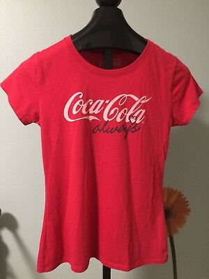 """Coca Cola Womens T Shirt Red """"Always"""" Collectible Shirt L / XL"""