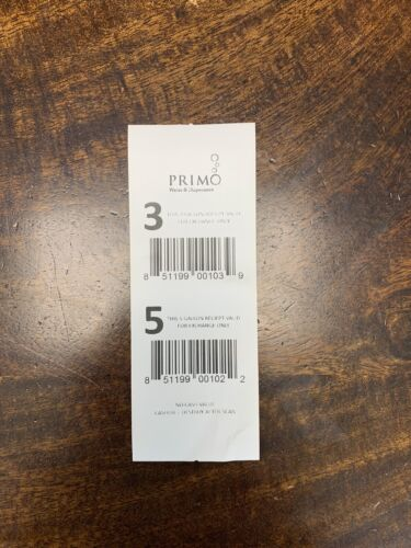 One 1 Primo Dispenser Five 5 Gallon Water Bottle Voucher Coupon For Exchange - $3.99