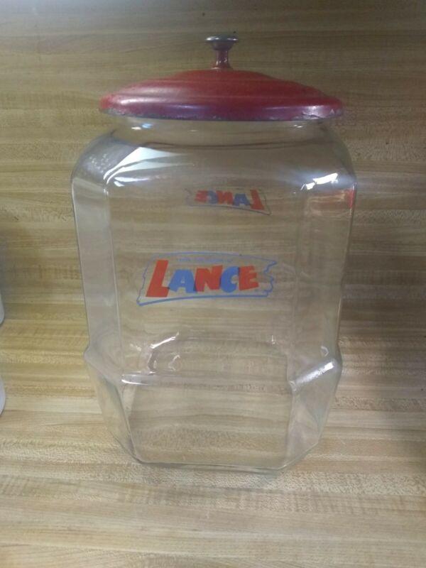 Vintage Country Store LANCE Cracker Jar & Metal Lid