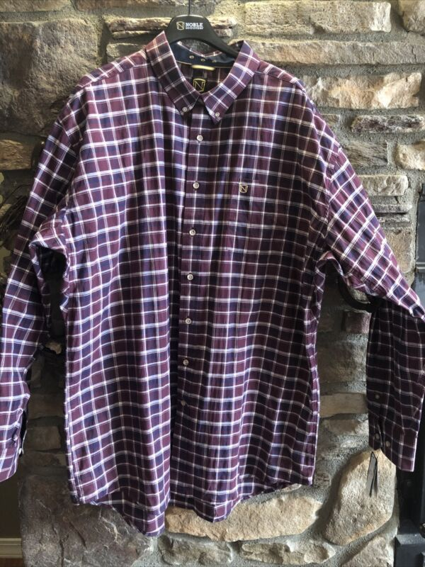 Noble Outfitters Mens Generations Long Sleeve Shirt XXL Wine Plaid