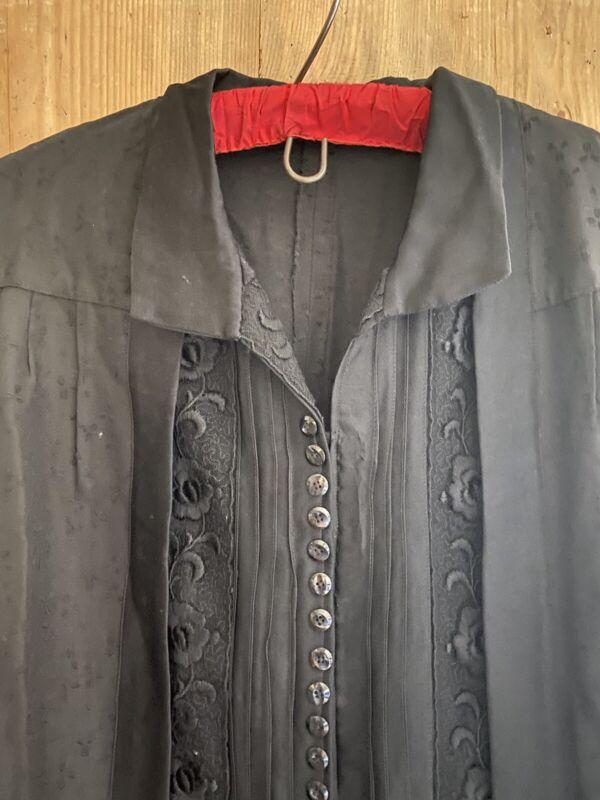 Vintage French BLACK belted damask BROCADE SILK DRESS c1950