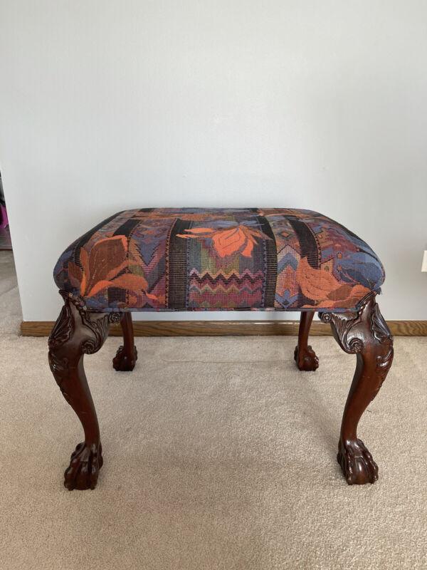 BAKER Furniture Historic Charleston  Mahogany Ottoman Footstool vintage/rare