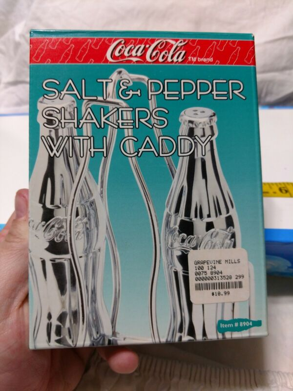 COCA COLA CHROME SALT & PEPPER SHAKERS WITH CADDY 1998 NIB Diner Collection vtg