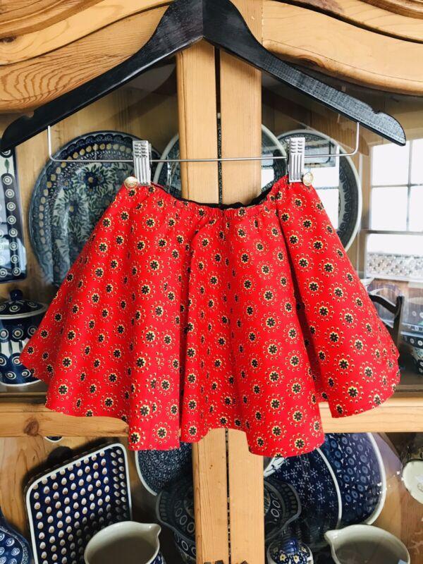 Vintage Handmade Circle Skirt Girls German Style Red Flowers Lined 5/6/7 Yrs