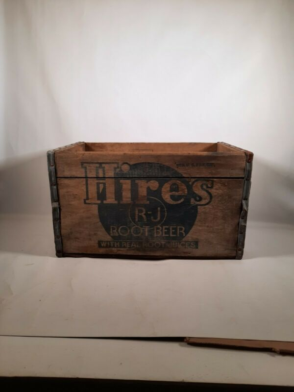 Antique Old Hires Rj Root Beer with real root juice Wooden Crate Box