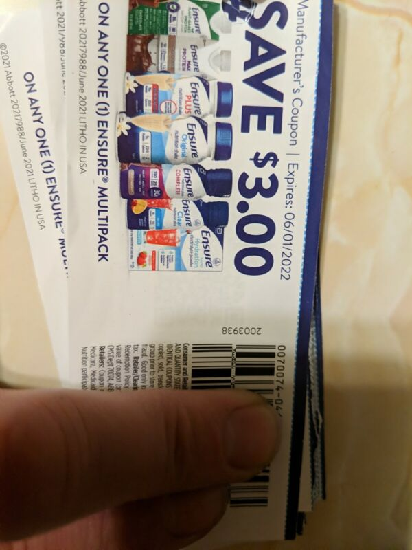 Ensure coupons $3.00 off x40 Exp 06/01/22. $75 value