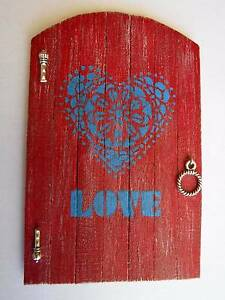 Wooden Fairy Door - Heart Love Patterned - Raspberry Red Prestons Liverpool Area Preview