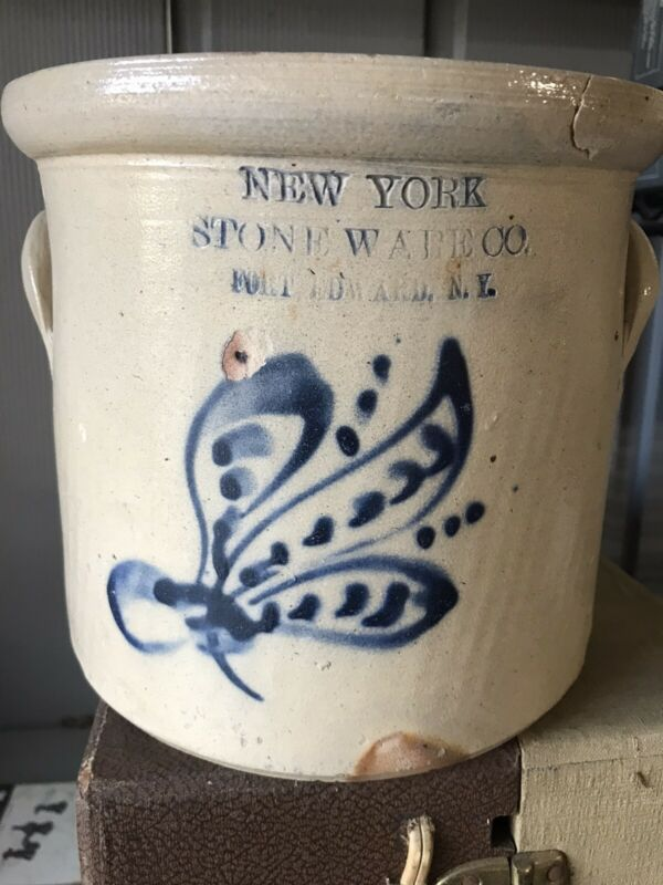 Antique New York Stoneware Co. Fort Edward, NY Cobalt Blue Butterfly