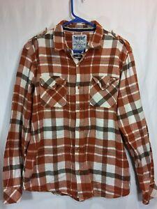 Men's Levi's Flannel Large Orange Plaid Two Horse Brand Long Sleeve Button Up