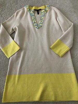 Beaded Trim Shift Dress (BCBGMAXAZRIA Gray Green Silk Beaded Trim Tunic Shift V Neck Dress M Colorblock )