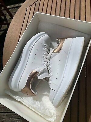 Boxed Alexander McQueen Women's Trainers worn twice Size 5 white / rose gold